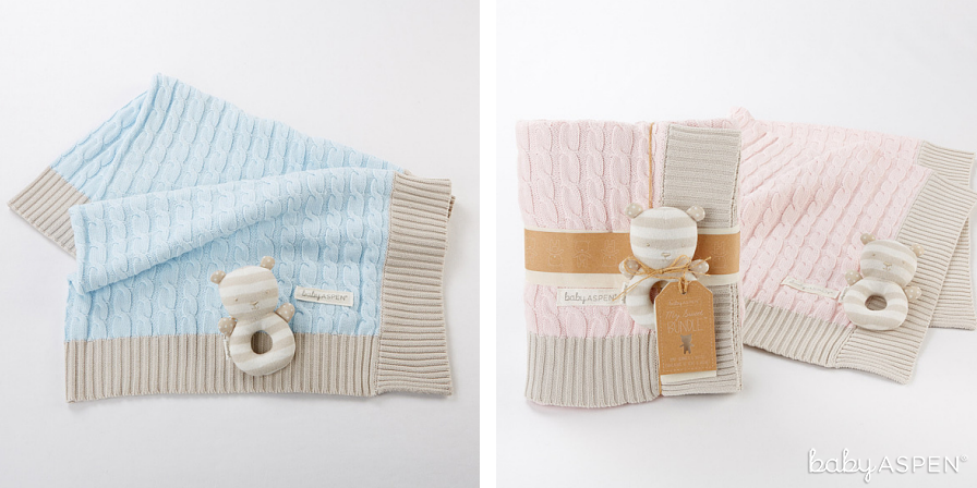 Blue and Pink Cable Knit Blankets | Baby Aspen