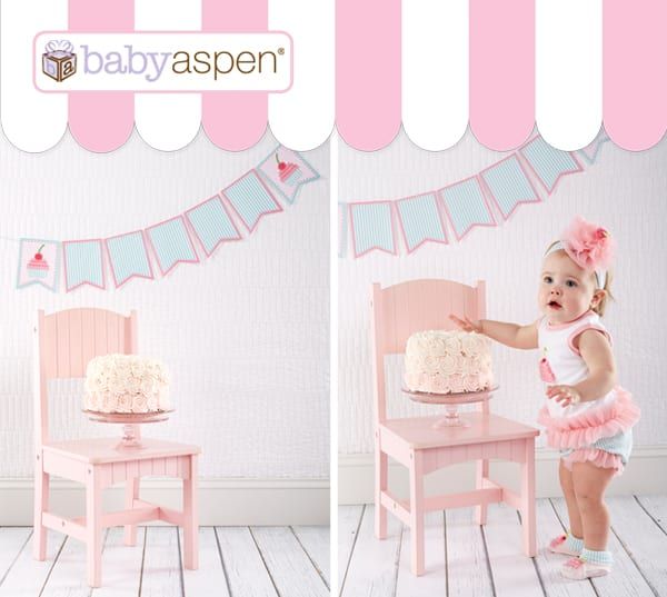 cupcake outfit | baby gifts | cupcake party ideas | free printable | printable banner | first birthday | babyaspen.com | blog.babyaspen.com | #cupcake #freeprintable #babyaspen