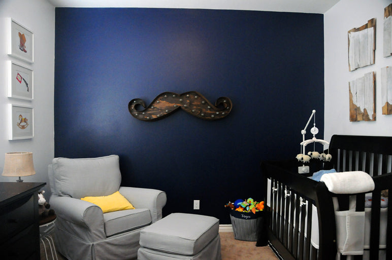 Contemporary Cowboy Nursery with Mustache Marquee