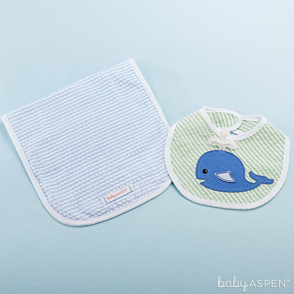 Whale Bib and Burp Set | Baby Aspen