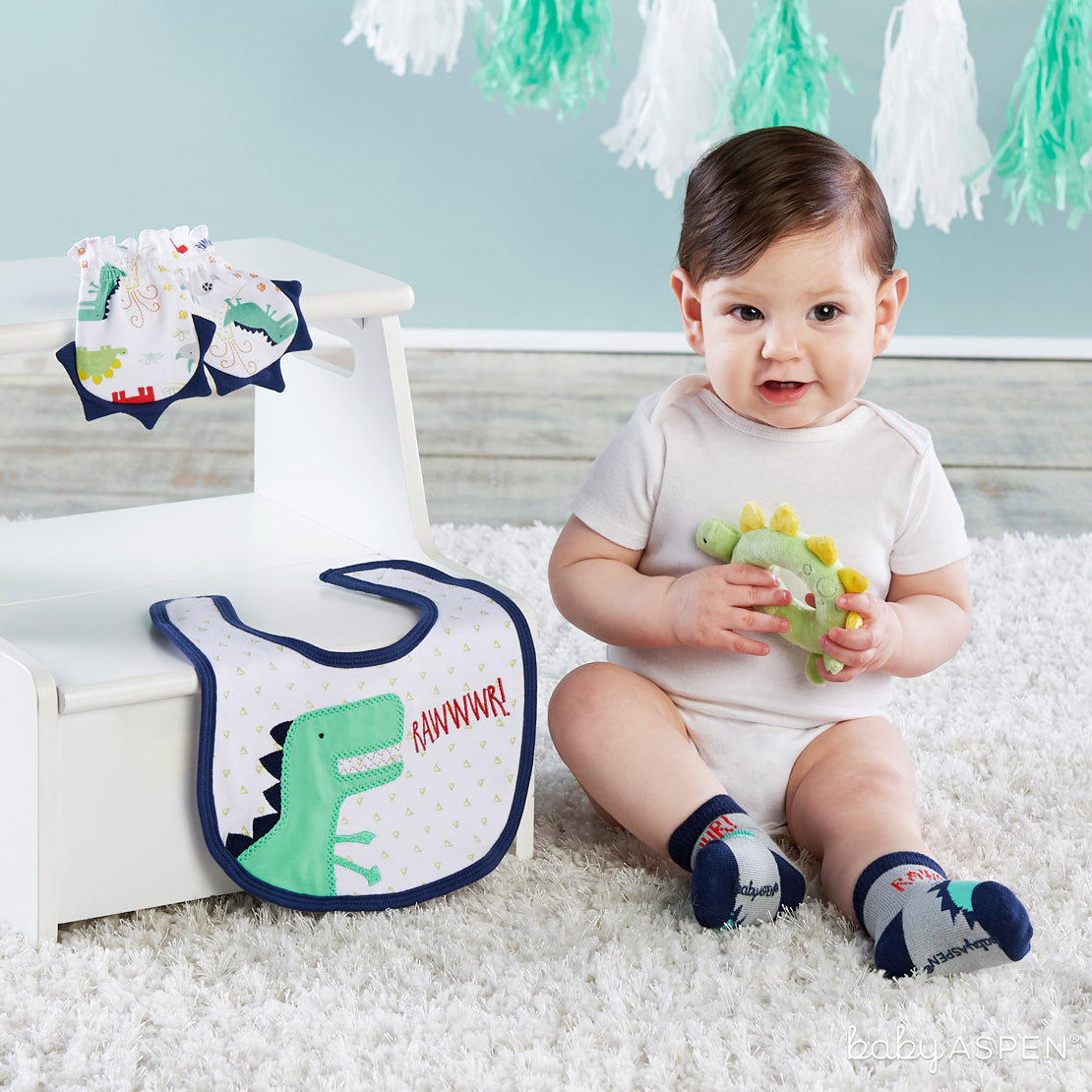 Dino Baby Gift Set With Baby | Dino-mite Gifts For Baby | Baby Aspen