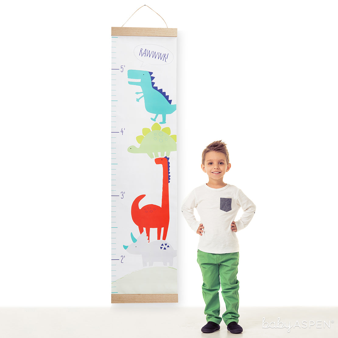 Dino Baby Hanging Growth Chart | Loveable Growth Charts for Your Little One | Baby Aspen