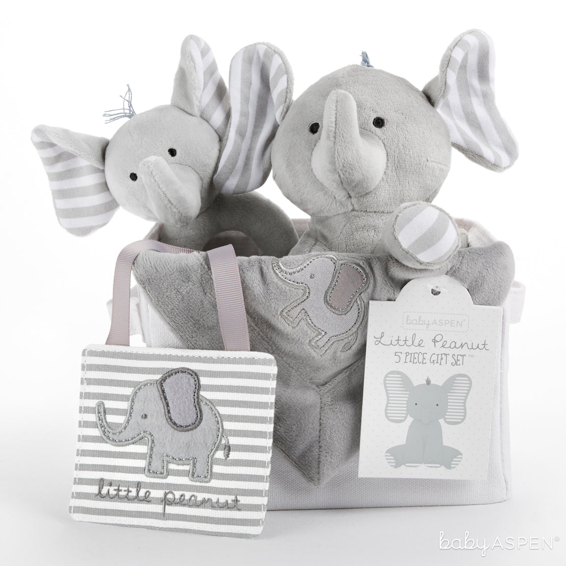 Elephant 5 Piece Gift Set | Sweet Elephant Themed Gifts For Your Little Peanut | Baby Aspen