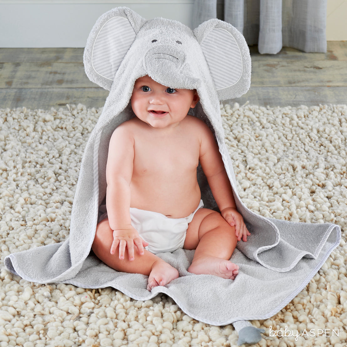 Elephant Hooded Towel | Sweet Elephant Themed Gifts For Your Little Peanut | Baby Aspen