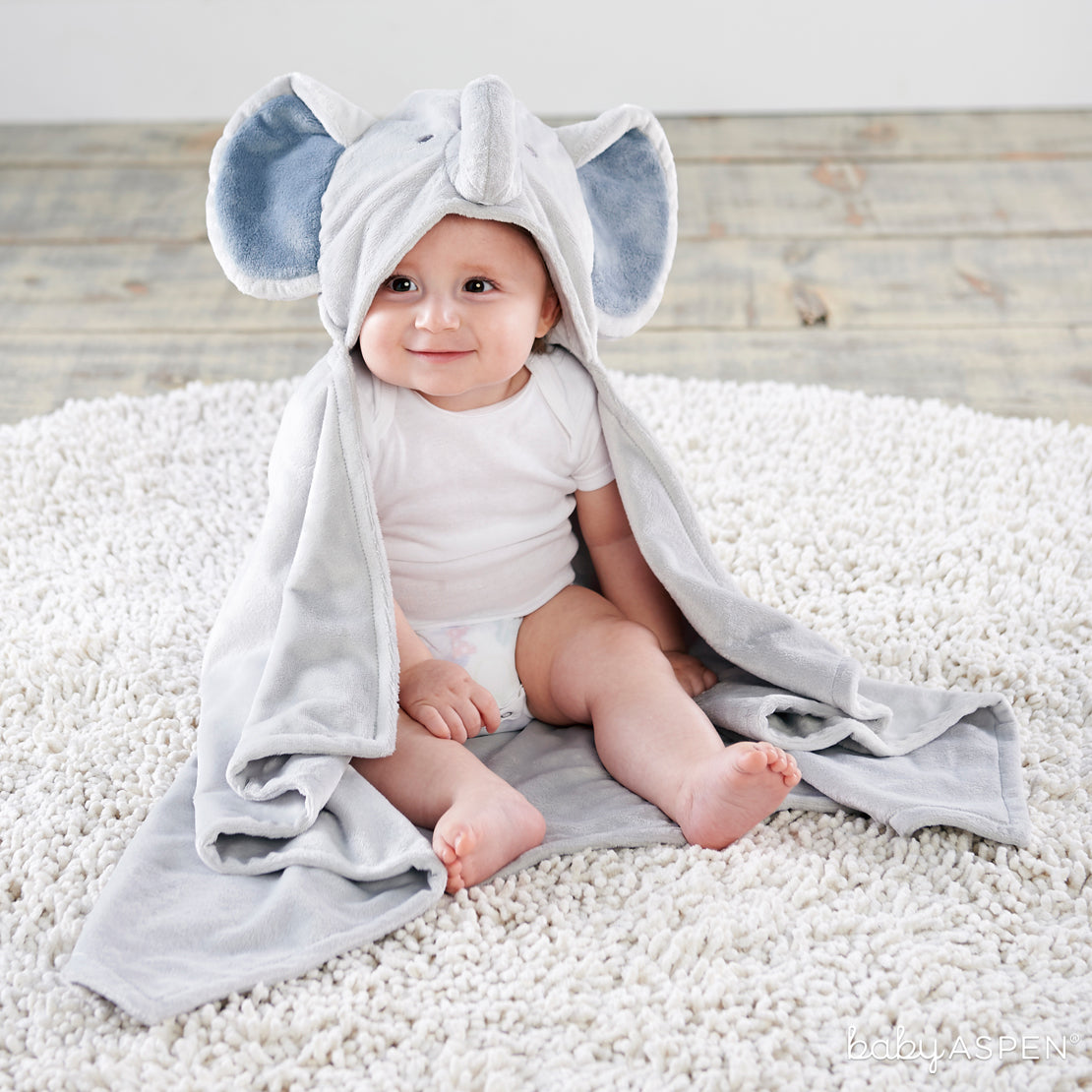 Little Peanut Elephant Hooded Blanket | Cozy Blankets & Lovies to Warm Baby this Winter | Baby Aspen