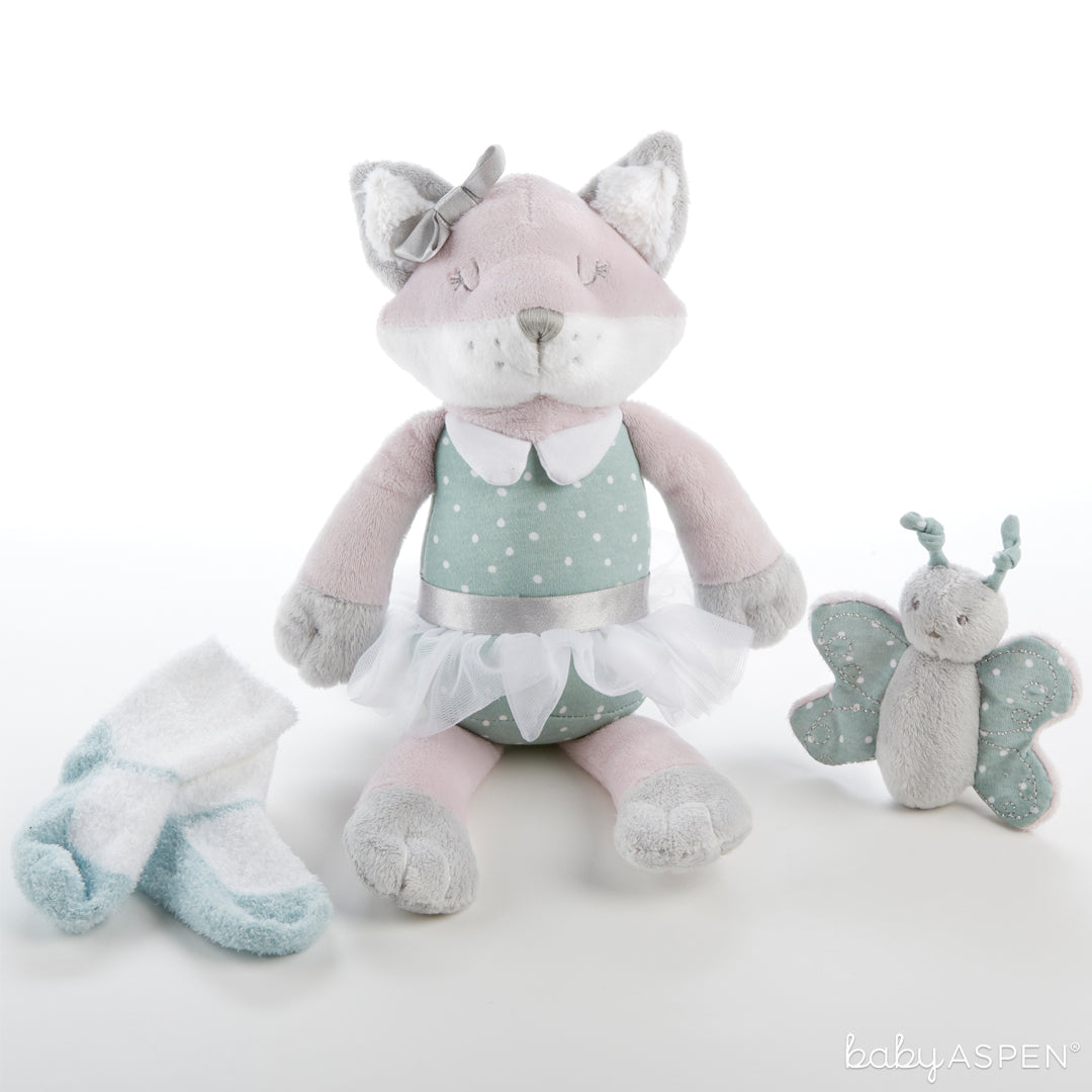 Fiona the Fox Plush Plus with Socks and Rattle for Baby | The Perfect Gifts For Your Little Forest Friend | Baby Aspen