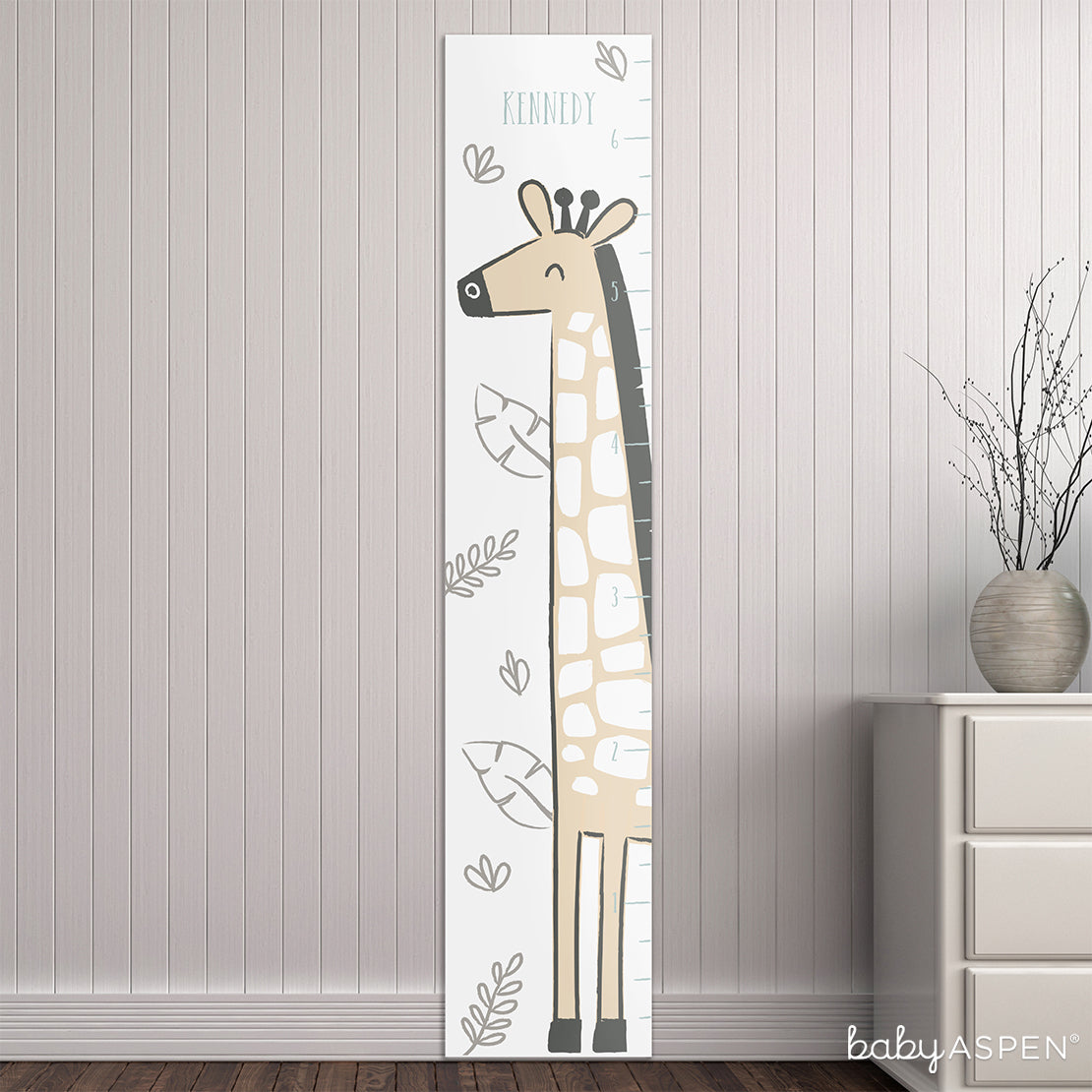 Personalized Safari Giraffe Growth Chart | Loveable Growth Charts for Your Little One | Baby Aspen