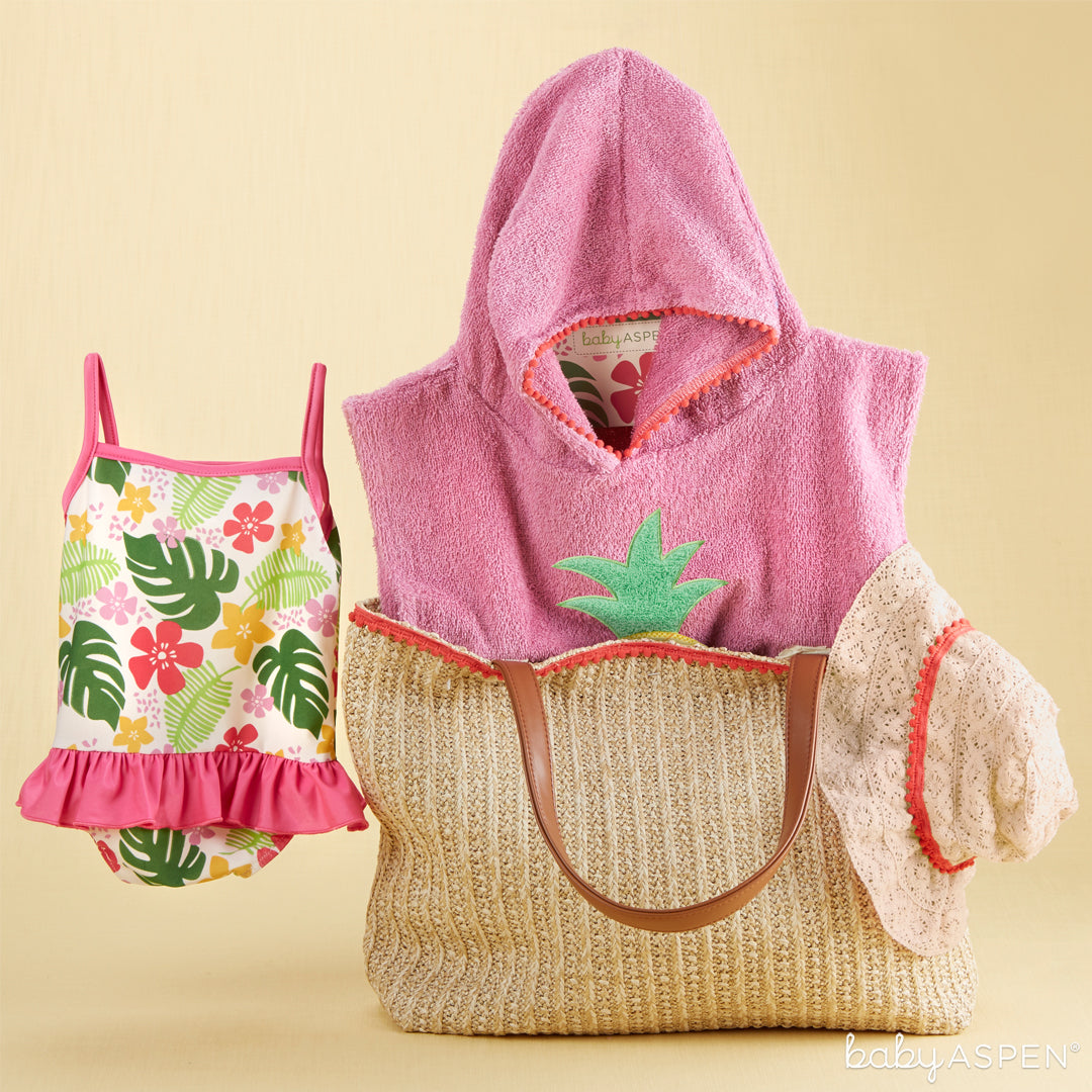 Four Piece Gift Set with Raffia Tote for Mom (Girl) | 4 Totally Tropical Gifts for Baby | Baby Aspen