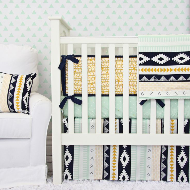 Gold and Mint Aztec Baby Bedding by Canden Lane