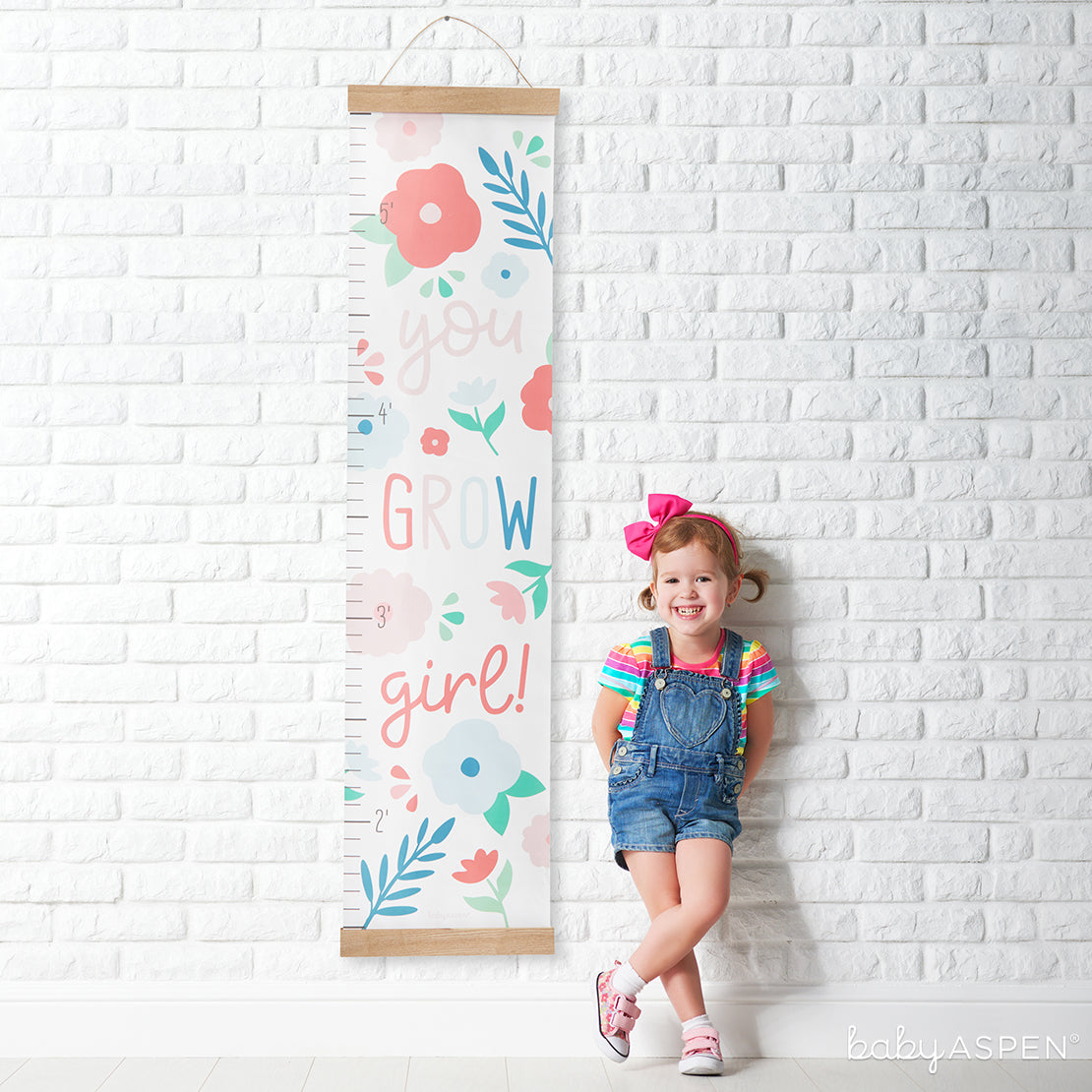 You Grow Girl Growth Chart | Loveable Growth Charts for Your Little One | Baby Aspen
