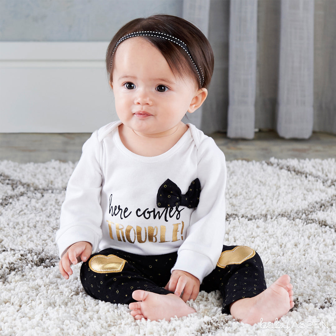 Trendy Baby Here Comes Trouble 2-Piece Outfit | 5 Trendy Gifts for Your Stylish Baby | Baby Aspen
