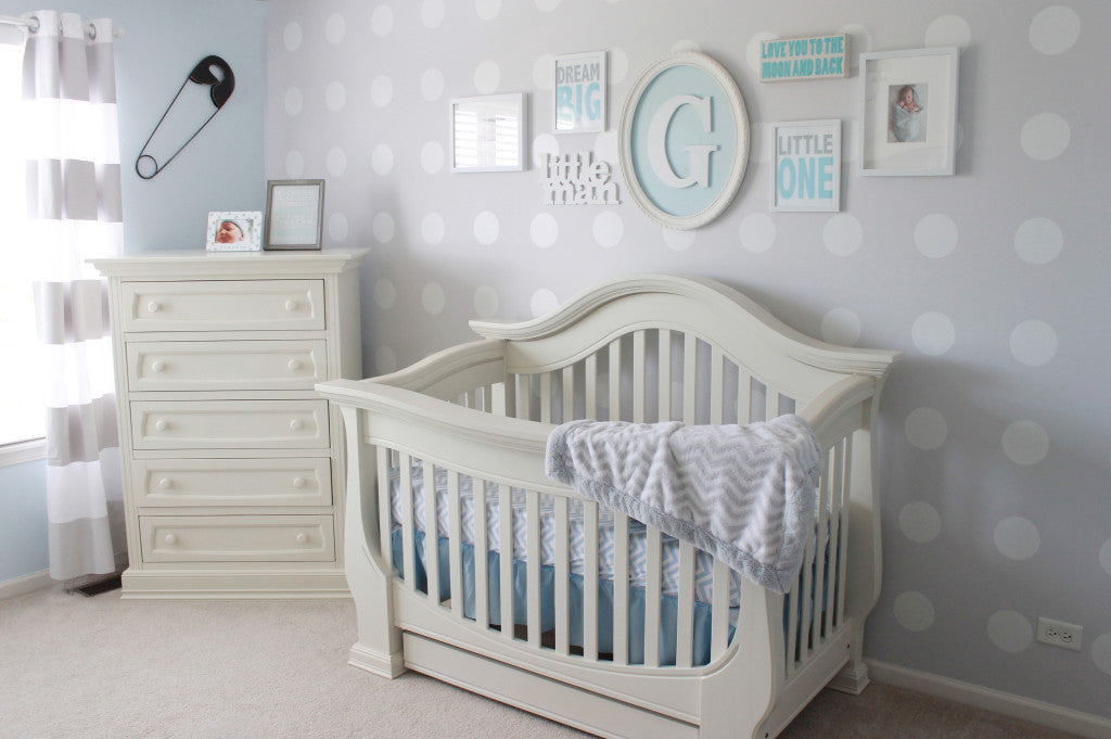 Gray, White and Blue Nursery - Polka Dot Wall