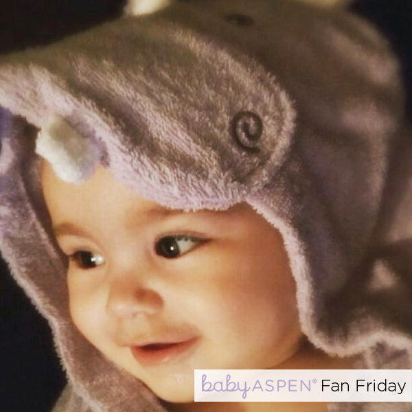 A Happy Little Hippo in her baby bath robe - Baby Aspen Fan of the Week @LilMissHope_