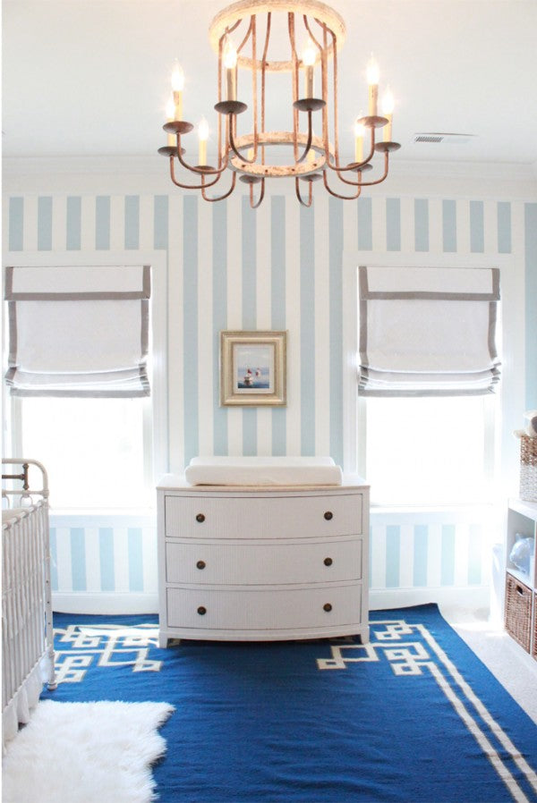 Lindsey Regan Thonre Nursery - Vertical Blue and White Stripes