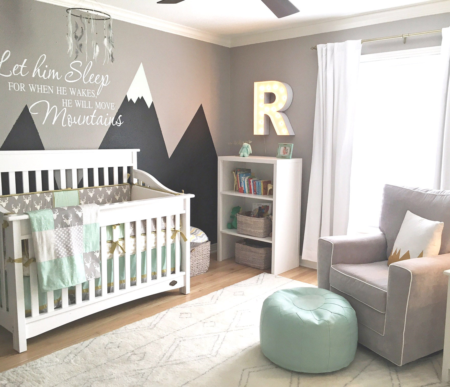 Mint and Gray Mountain Themed Nursery | 5 Trendy and Unique Nursery Themes for 2017 | Baby Aspen