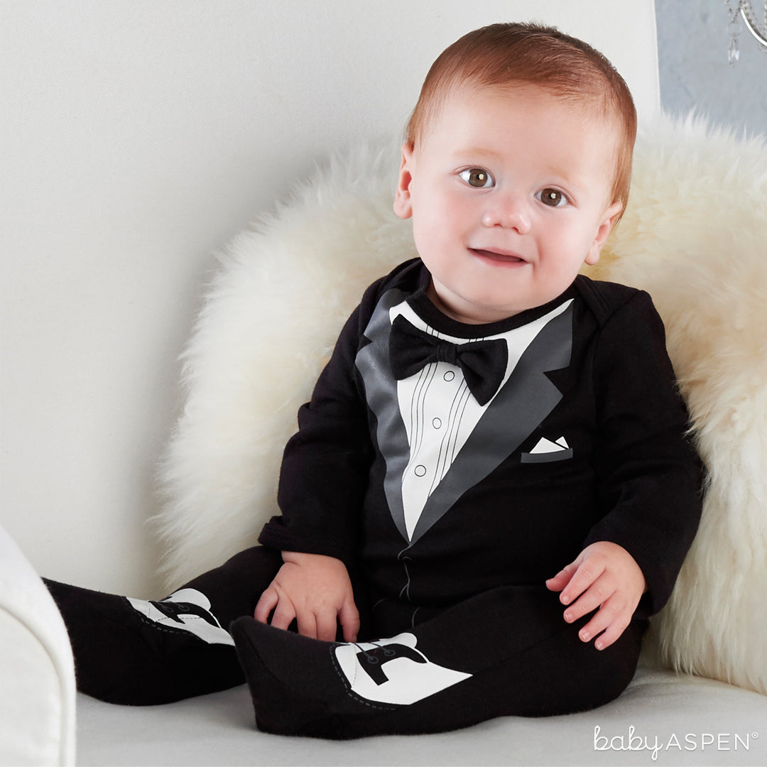 My First Tuxedo Outfit with Baby | Outfits for All of Baby's Firsts | Baby Aspen