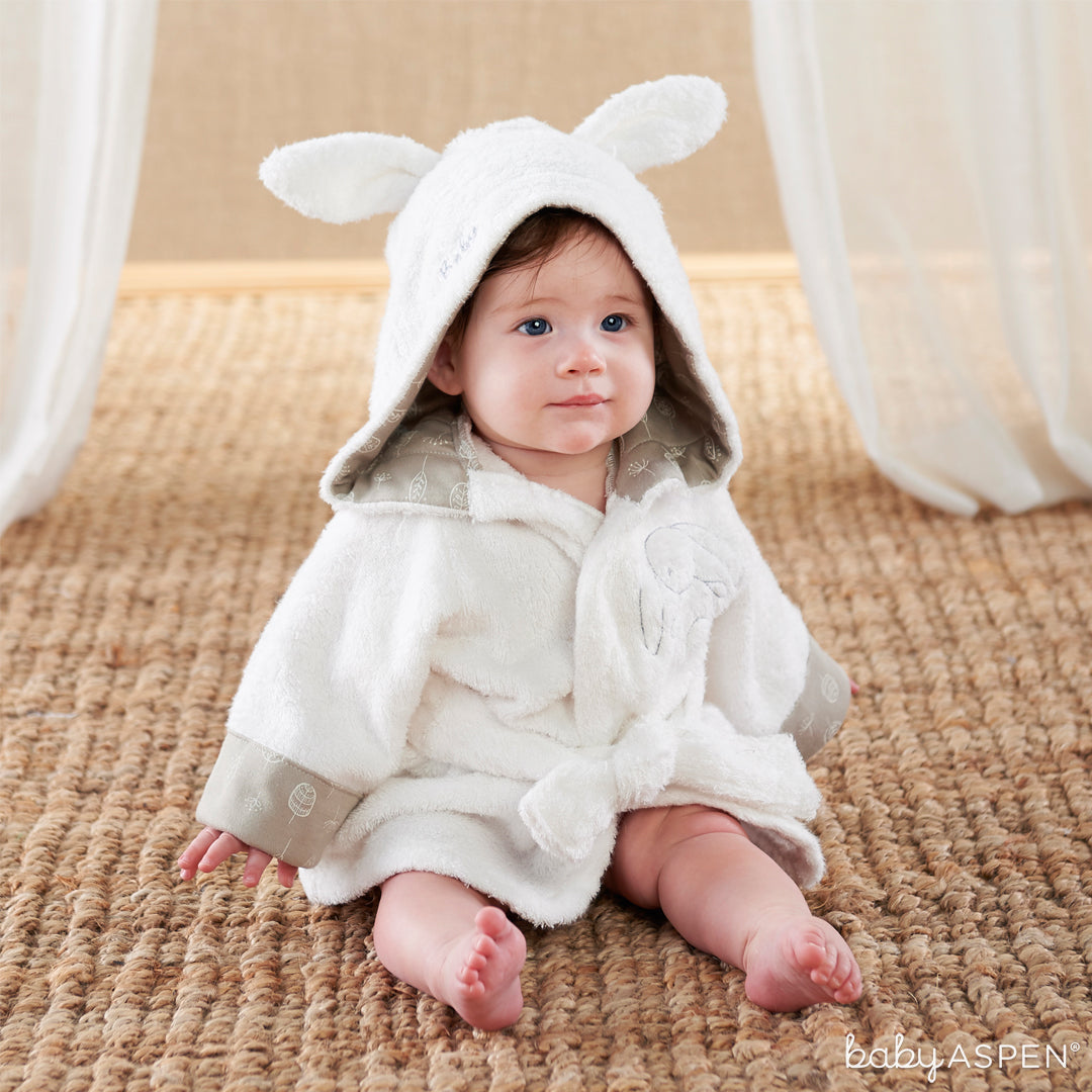 Natural Baby Bamboo Bunny Hooded Spa Robe w Baby | Natural Baby Collection | Baby Aspen