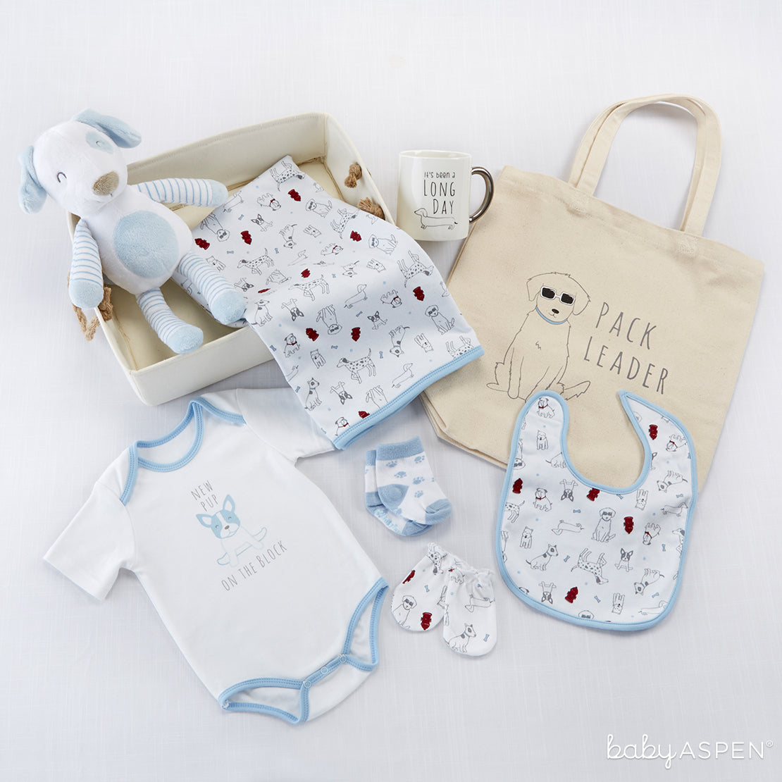 New Pup 9-Piece Baby Gift Basket   6 Gifts for a Puppy Themed Baby Shower   Baby Aspen