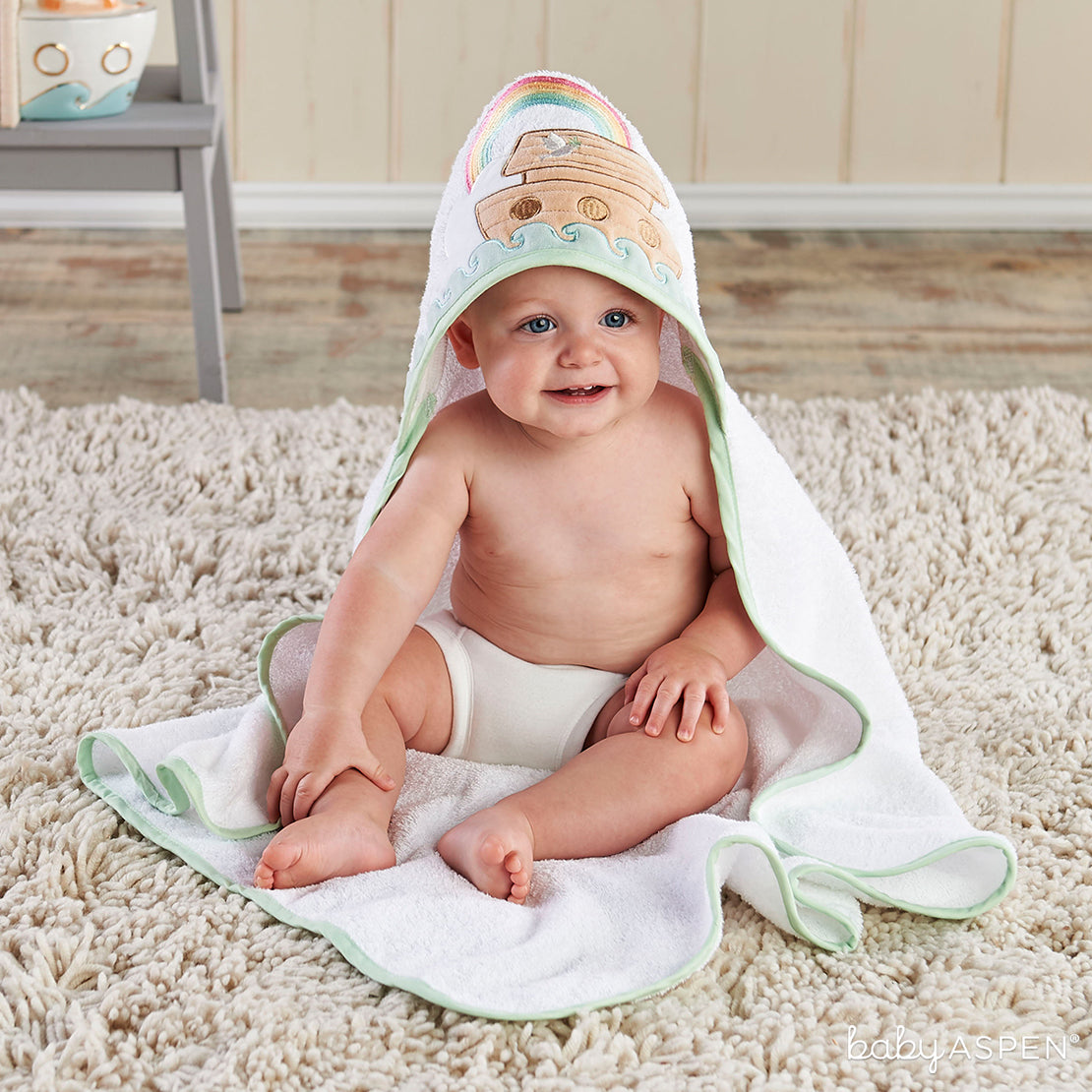Noah's Ark Hooded Towel | The Cutest Baby Hooded Towels | Baby Aspen