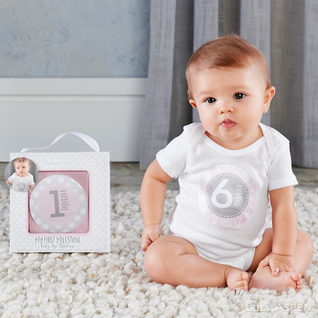 Pink Milestone Stickers with Baby | Baby Gifts for Each New Milestone | Baby Aspen
