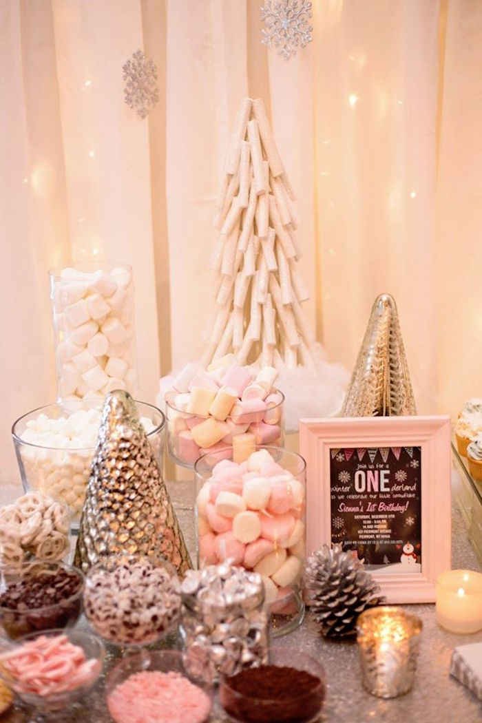 Pink Winter Wonderland Dessrt Table | Winter 'One'derland Birthday Party | Baby Aspen