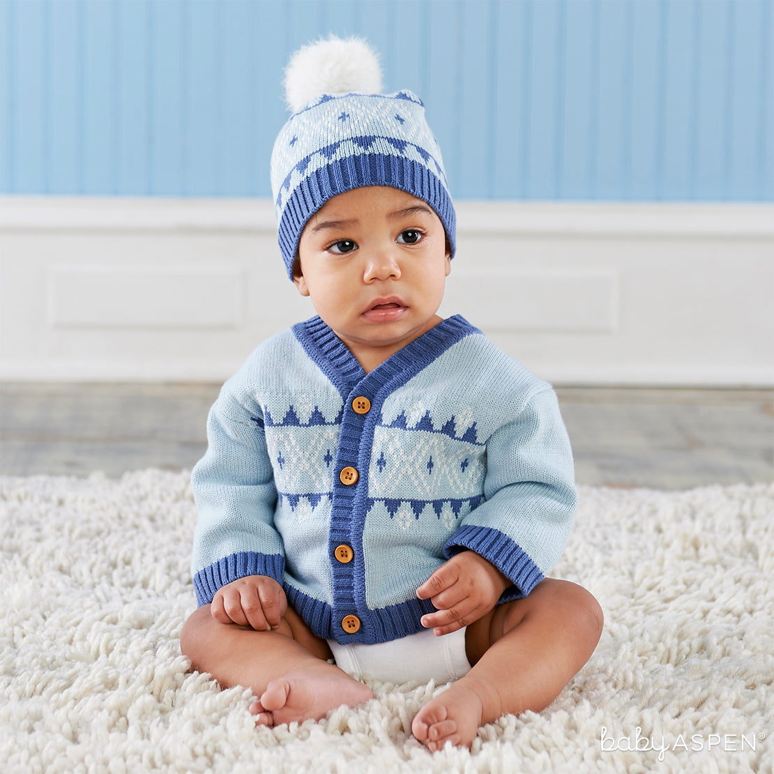 Blue Fair Isle Cardigan and Pom Pom Hat | Holiday Gift Guide: Top 10 Baby Picks for 2018 | Baby Aspen