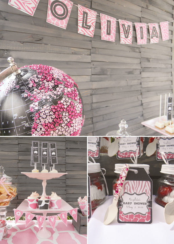 Glam Pink Safari Dessert Table for Baby Shower | Hostess With The Mostess