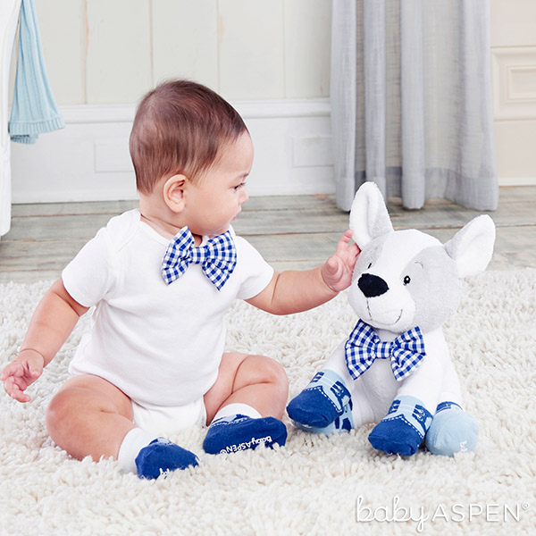 Plush Puppy with Bowtie and Socks | Baby Aspen