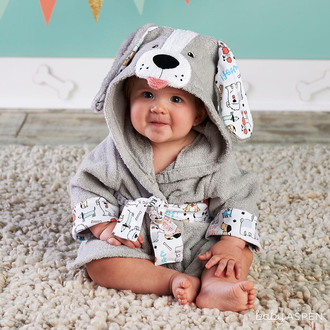Puppy Hooded Robe | 6 Gifts for a Puppy Themed Baby Shower | Baby Aspen
