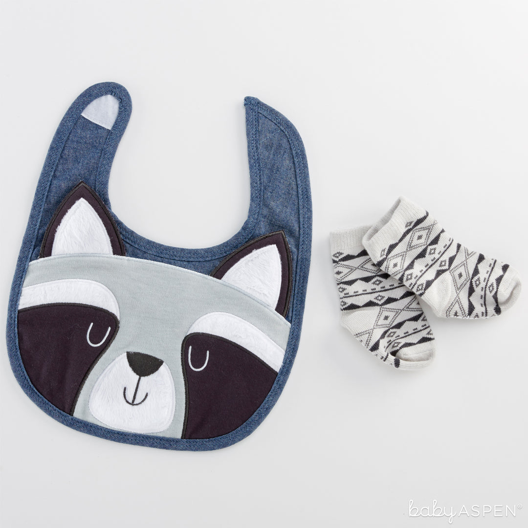 Raccoon Bib and Socks Set   The Perfect Gifts For Your Little Forest Friend   Baby Aspen