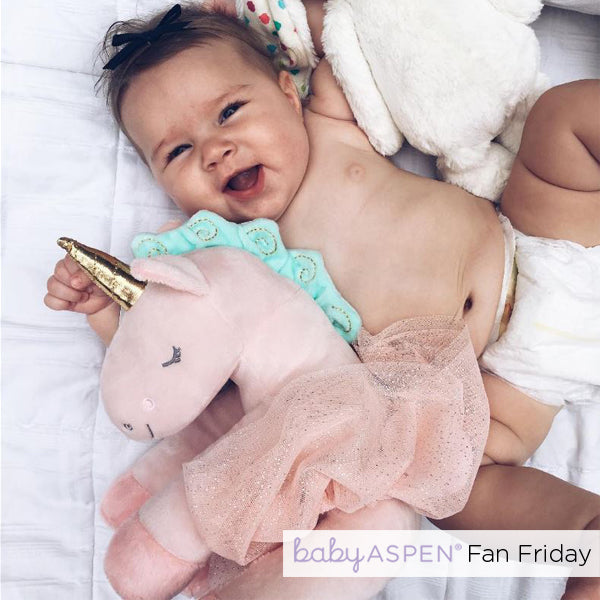 Rosie the Unicorn Plush Plus with Tutu for Baby | Fan Friday: Unicorn Best Friend | Baby Aspen