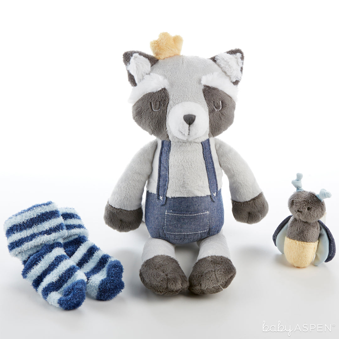 Rusty the Raccoon Plush Plus with Socks and Rattle for Baby | The Perfect Gifts For Your Little Forest Friend | Baby Aspen