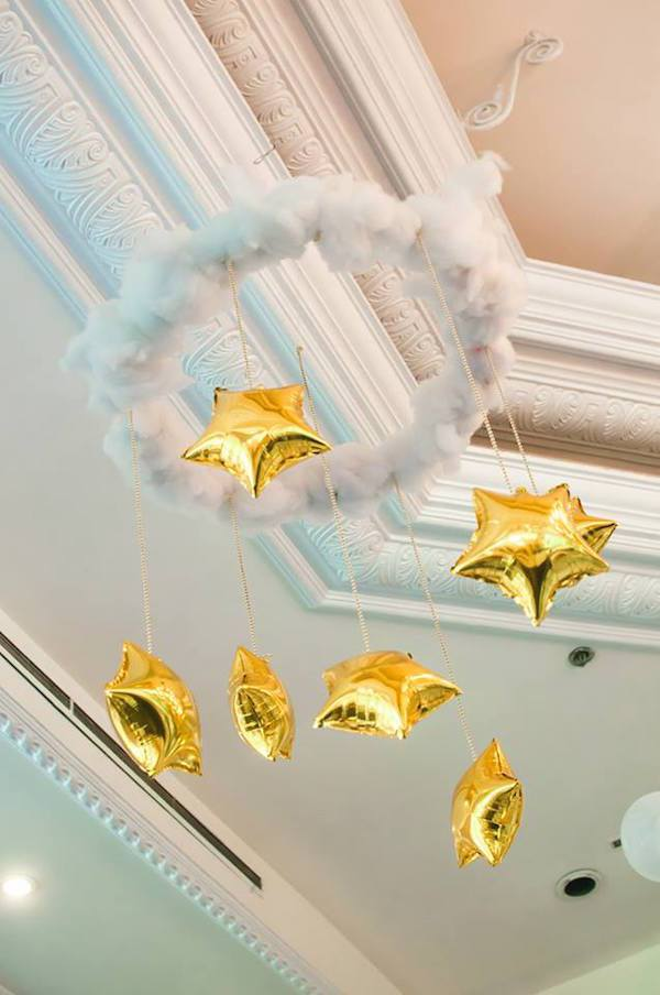 Star Balloons Hanging From Ceiling | Twinkling Star Birthday | Baby And Breakfast