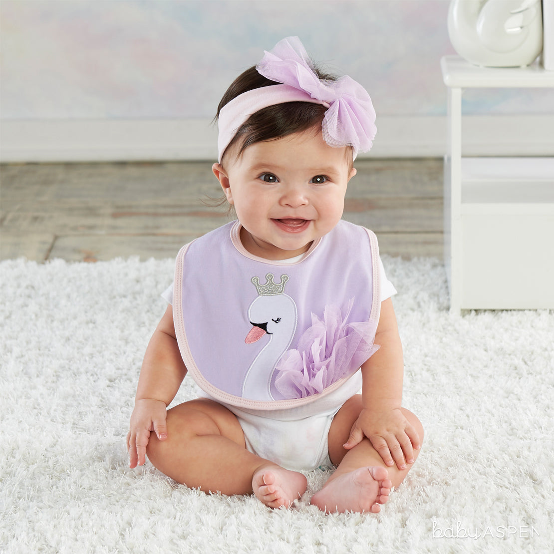 Swan Bib & Headband on Baby | Magical Gifts For Your Fairy Princess | Baby Aspen