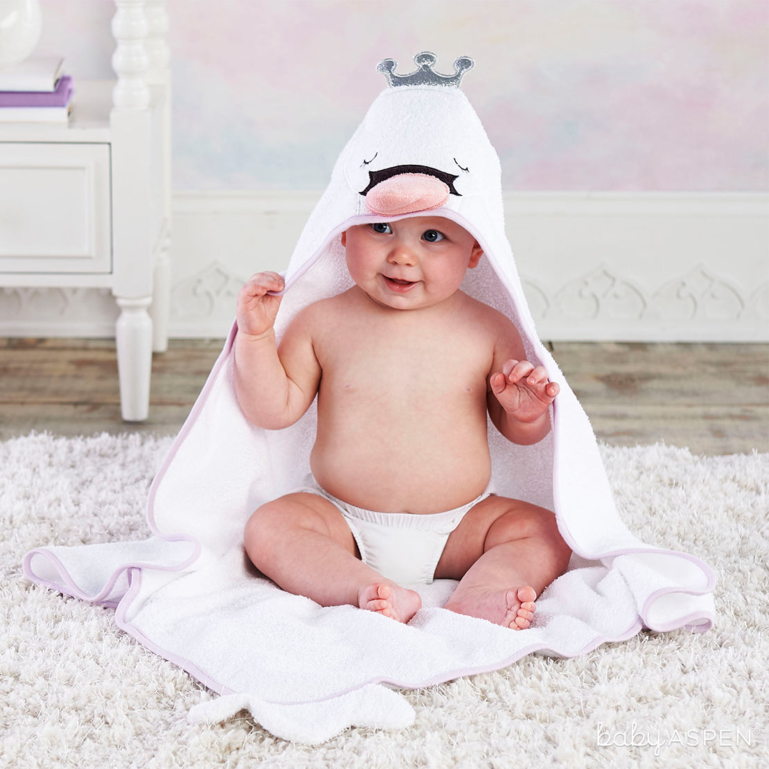 Swan Princess Hooded Towel | The Cutest Baby Hooded Towels | Baby Aspen