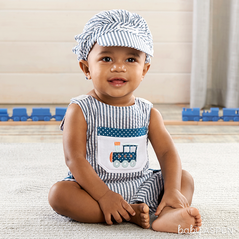 Train Romper Set for Baby | @BabyAspen | BabyAspen.com