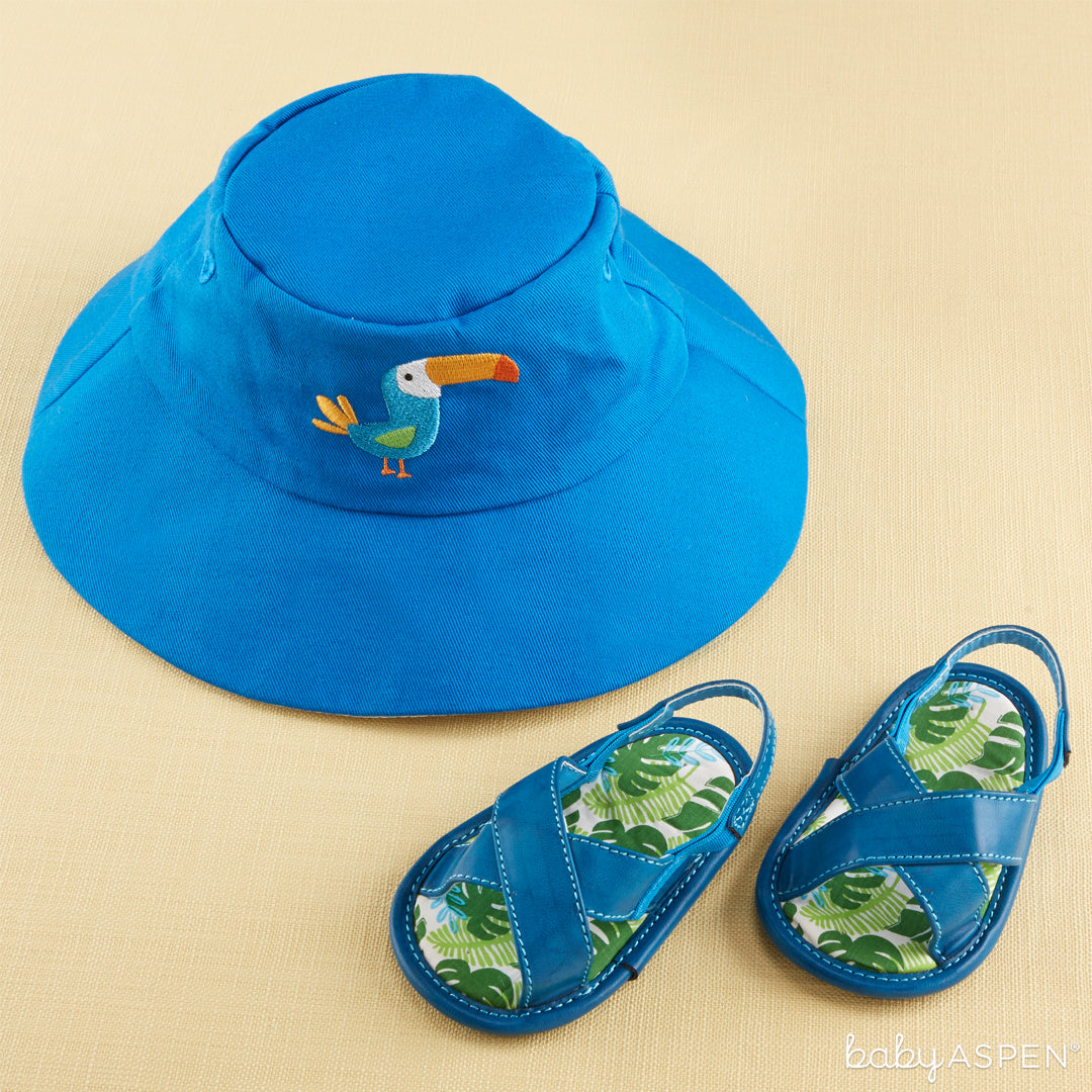 Tropical Beach Hat and Flip Flop Gift Set | 4 Totally Tropical Gifts for Baby | Baby Aspen