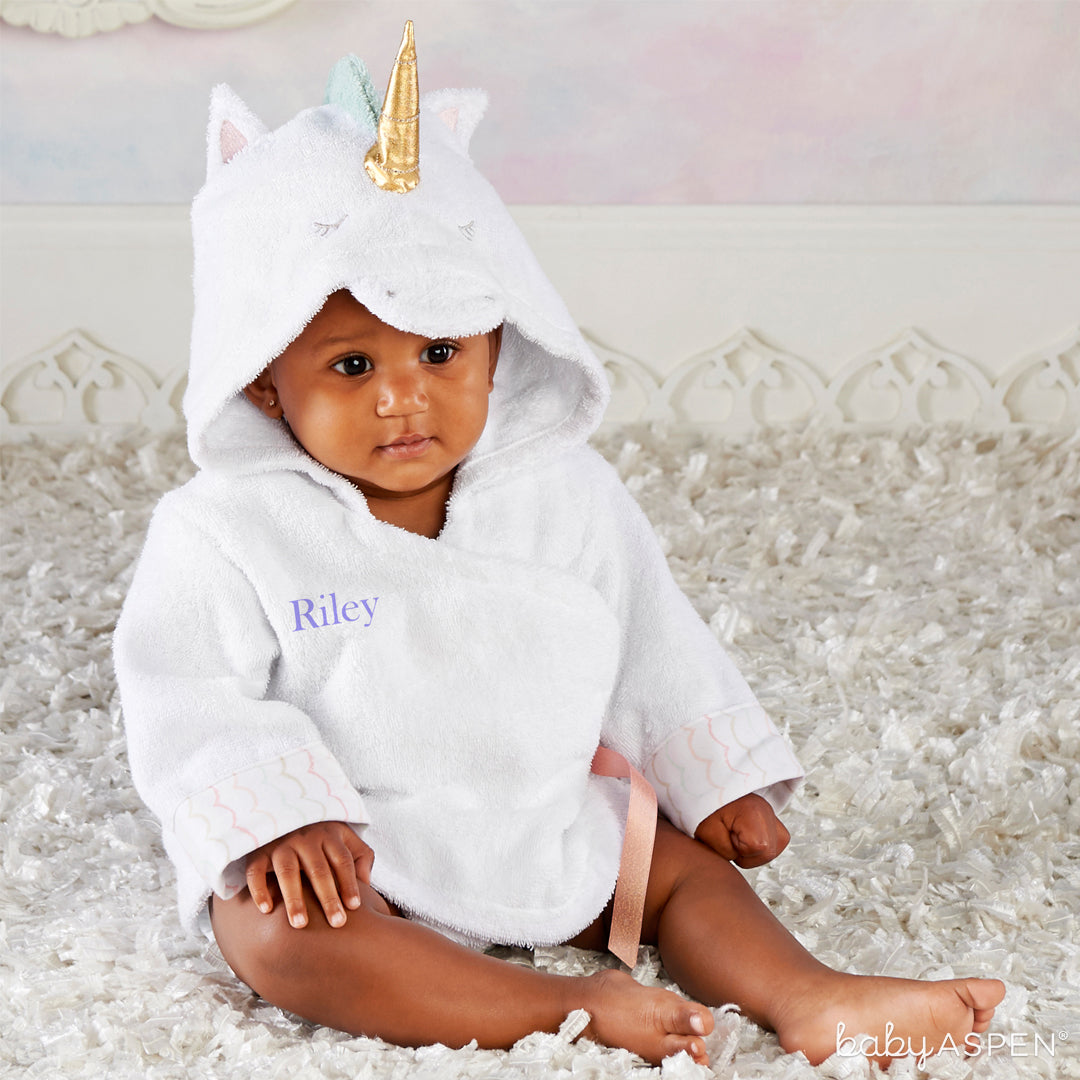 Unicorn Hooded Spa Robe with Baby | 5 Simply Enchanted Gifts for Baby Girl | Baby Aspen