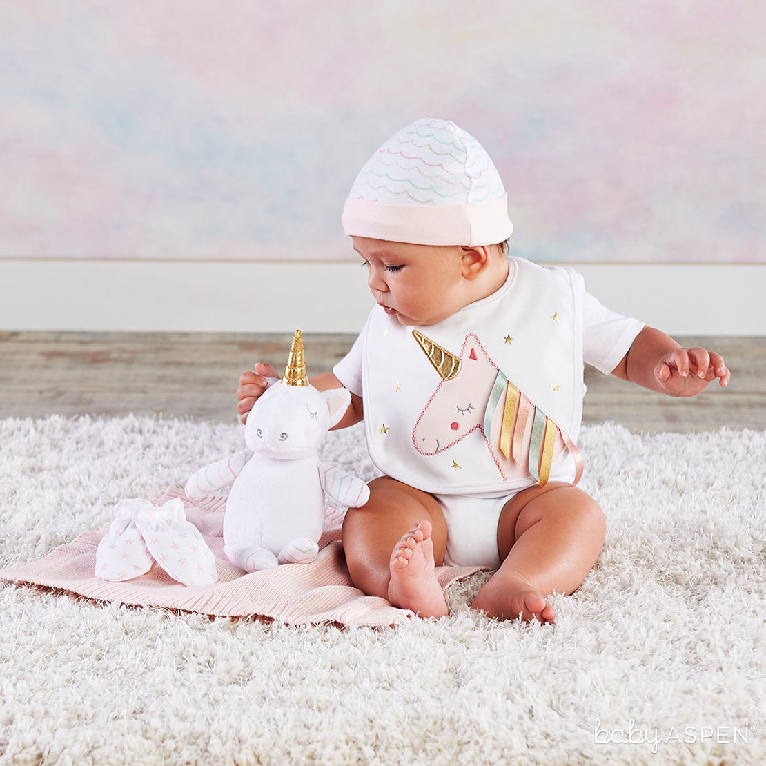 Simply Enchanted Unicorn 5-Piece Welcome Home Gift Set | Magical Unicorn Themed Baby Gifts | Baby Aspen