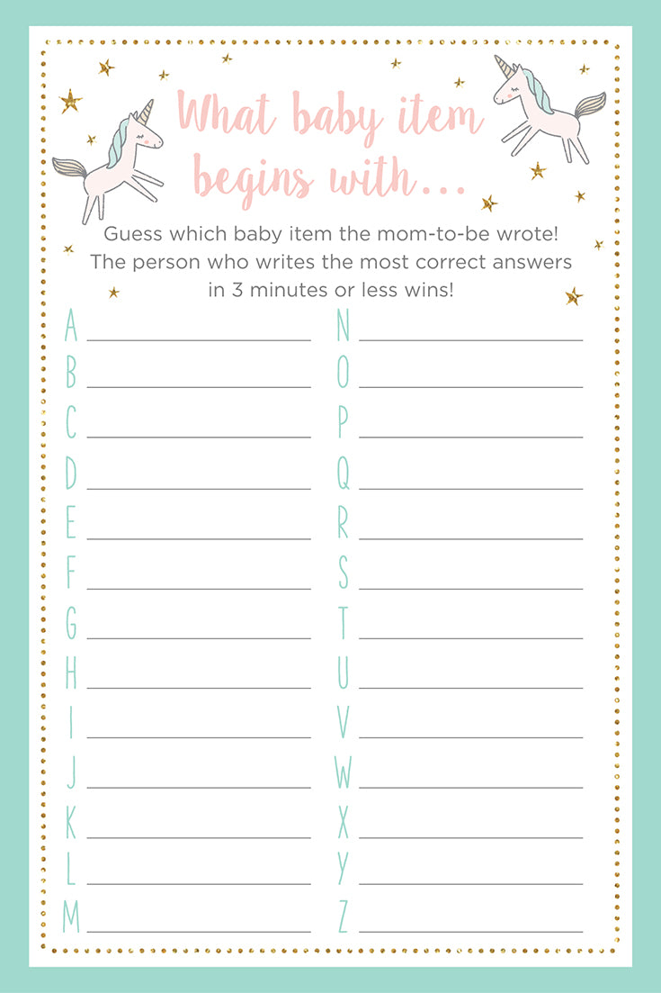 What Baby Item Begins With... | 3 Unicorn Themed Baby Shower Games + Printables | Baby Aspen