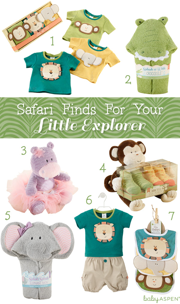 Safari Finds for your Little Explorer | Safari Themed Baby Gifts by Baby Aspen | Hippo | Monkey | Crocodile | Elephant | Lion
