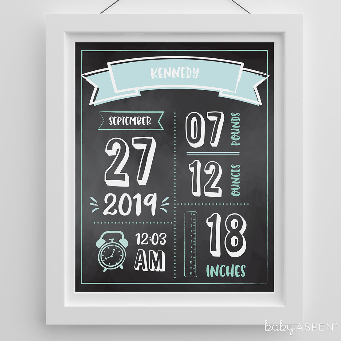 Newborn Infographic Nursery Art | Wonderful Wall Art for Any Baby Nursery | Baby Aspen