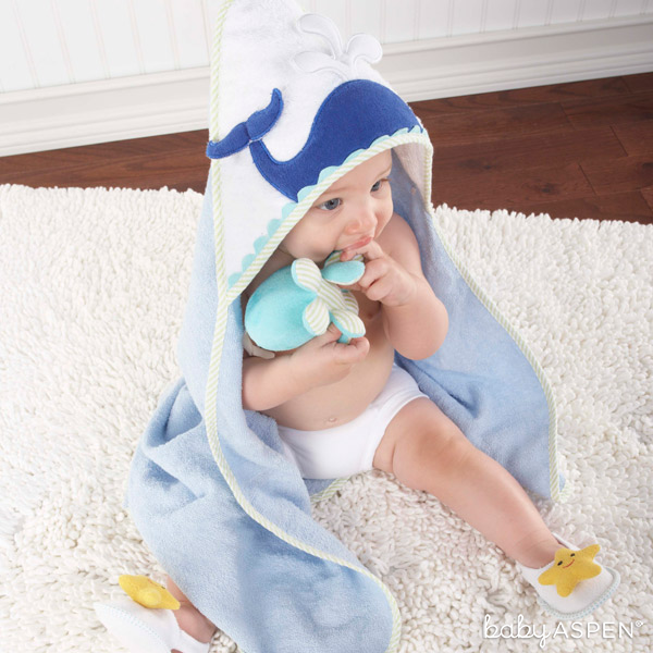 Whale Bath Towel | Beach Buddies Bath Time Set | Baby Aspen