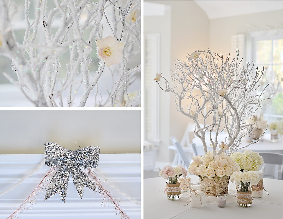 White Winter Wonderland Decor Accents | Winter 'One'derland Birthday Party | Baby Aspen