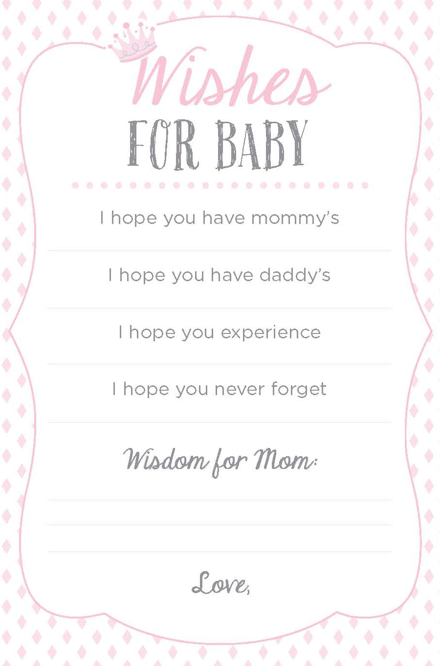 Wishes for Baby Printable - Pink | 3 Baby Shower Games We Love | Baby Aspen
