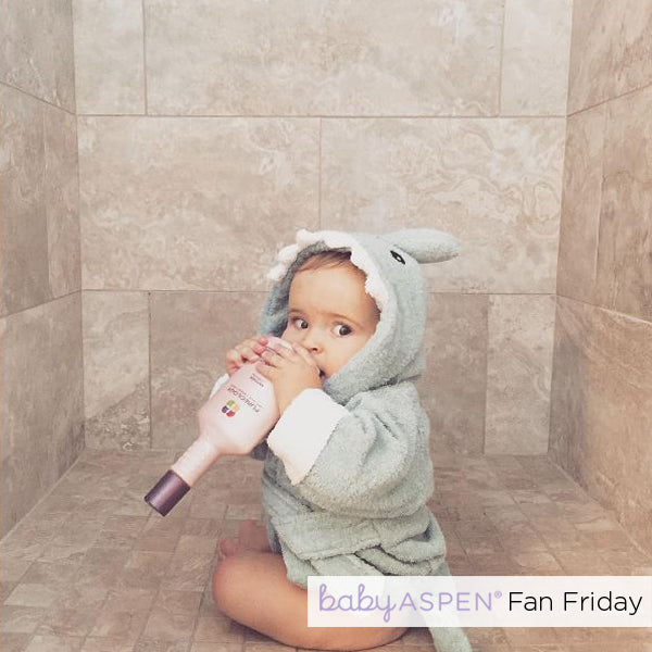 Shark Hooded Spa Robe Baby Aspen Fan Photo by @alainagerv via Instagram