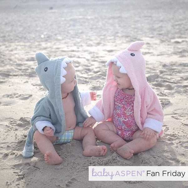 Babies in pink and blue shark robes | Baby Aspen Fan Friday | Photo Credit: @aprilproveaux