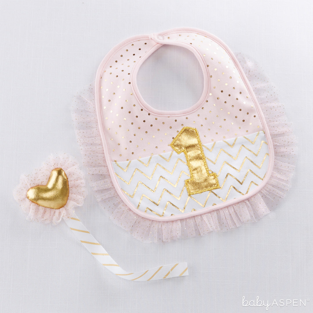 My First Birthday Pink and Gold Pacifier Clip and Bib Set | Baby Gifts for Each New Milestone | Baby Aspen