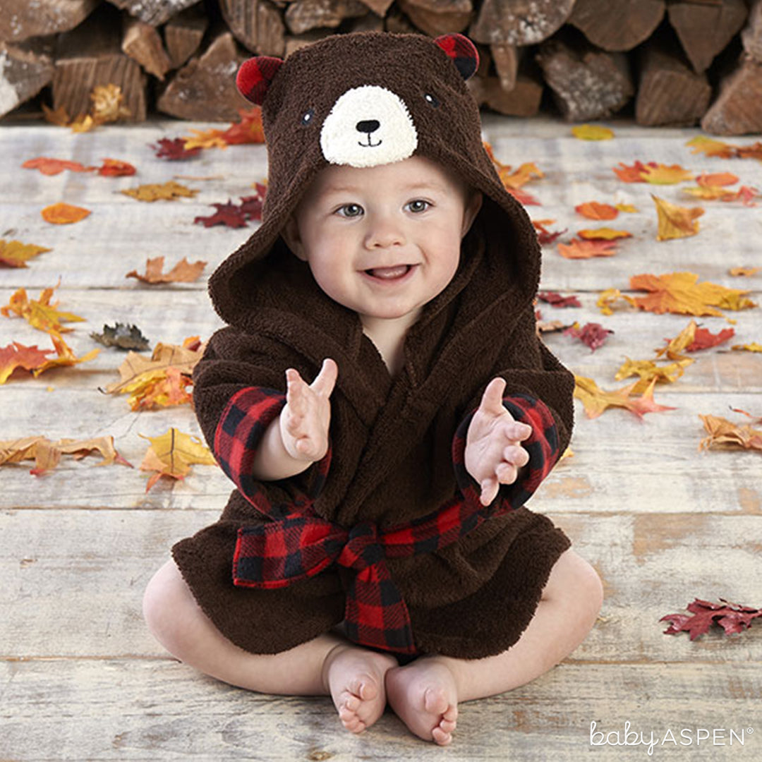 Beary Bundled Brown and Red Hooded Robe | Baby Aspen | Holiday Gift Guide