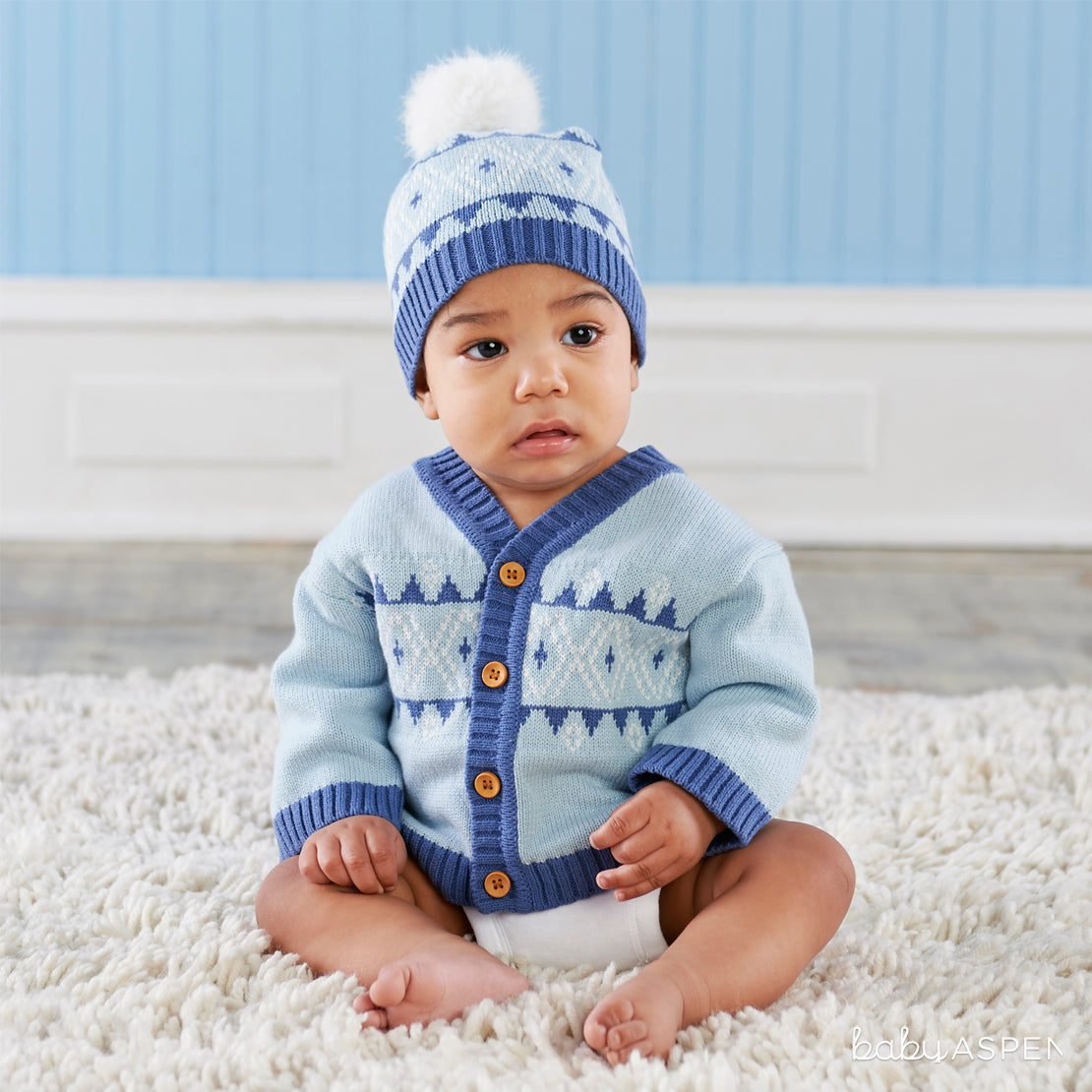 Blue Fair Isle Cardigan and Pom Pom Hat | Holiday Gift Guide: Top Baby Picks for 2017 | Baby Aspen